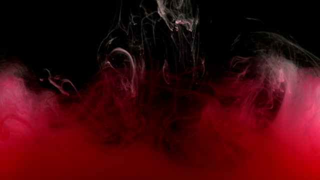 Roter-Tinte-Farbe-in-Wasser-flüssigste-künstlerische-Formen-erstellen