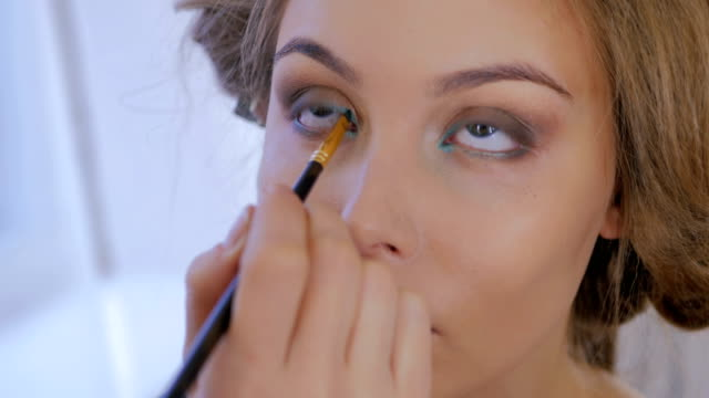 Professional-make-up-artist-applying-eyeliner-around-the-entire-eye-of-model