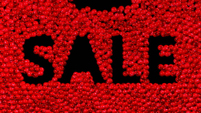 Sale-text-with-many-red-and-white-balls-3d-animation-Green-screen-footage-