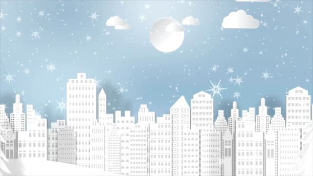 Motion-graphics-para-fondo-de-temporada-de-Navidad-con-copos-de-nieve-y-santa-en-la-ciudad