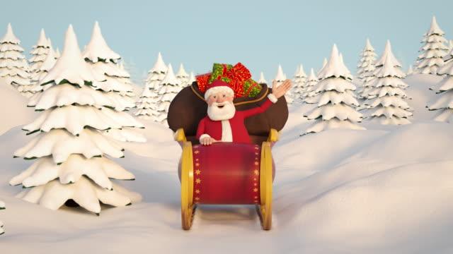 Santa-Claus-conduciendo-por-paisajes-nevados-en-su-trineo-Vista-frontal-Bucle-de-animación-en-3d