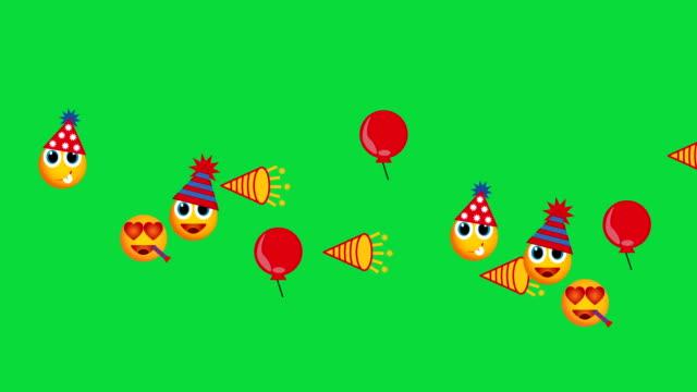 Social-network:-Emoji-happy-New-Year-show-green-screen