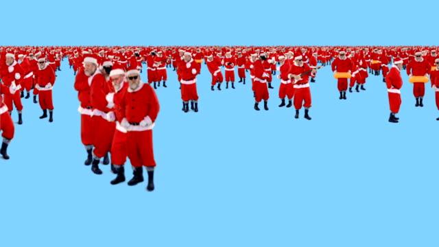 Group-of-santa-claus-dancing-and-performing-various-activity