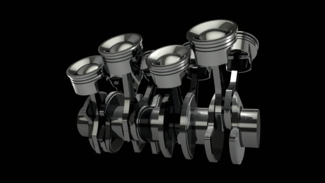 Slow-Motion-Rotating-V8-Engine-Pistons-On-A-Crankshaft---Loop