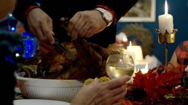 Man-carving-turkey-on-Christmas-dinner