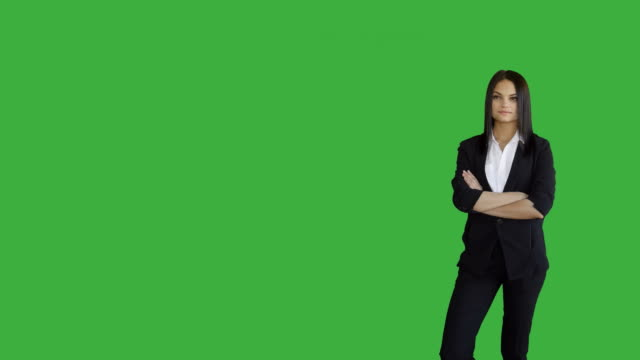 Young-Attractive-Brunette-Women-Standing-Isolated-Against-Green-Screen-Background-Portrait-of-Beautiful-Professional-Female-Person-in-Suit