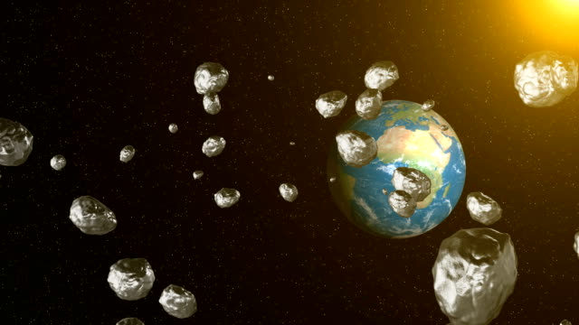 Asteroid-in-space-fly-to-earth