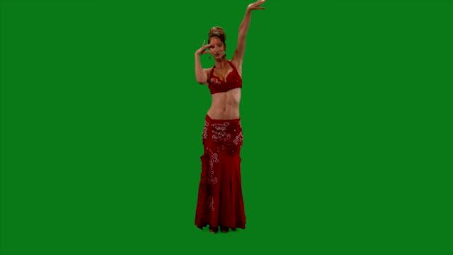 Dancer-Belly-dance-Belly-dancer-dancing-Green-screen-Sexy-red-dress