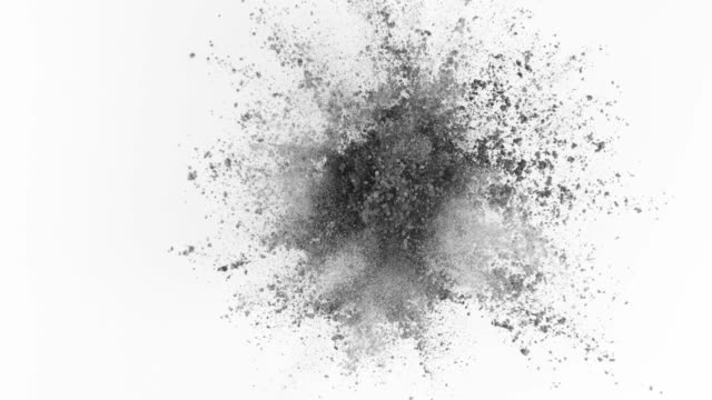 Gray-powder-exploding-on-white-background-in-super-slow-motion