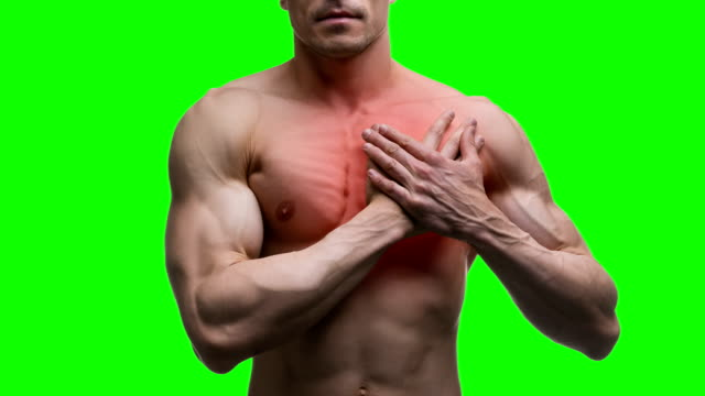 Heart-attack-elderly-muscular-man-with-infarction-on-green-background-chroma-key-4K-video