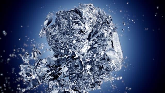 Explodierende-Eiswürfel-in-Zeitlupe-mit-animierten-Schärfentiefe-