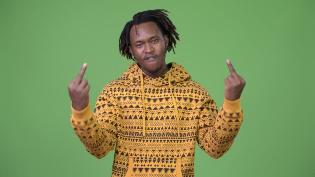 Young-handsome-African-man-showing-middle-fingers