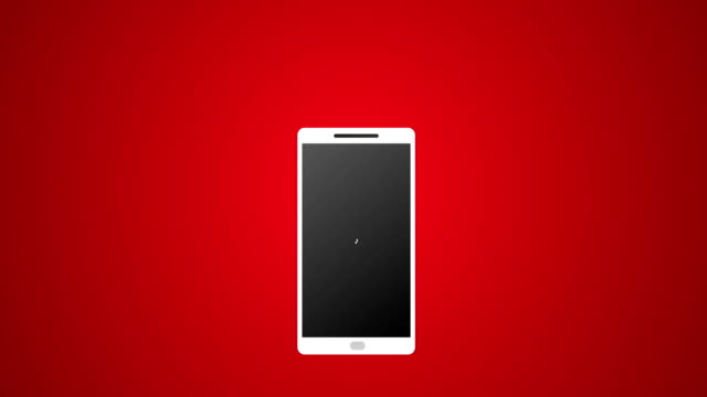 Smartphone-Call-with-White-Icon-and-Ringing-Vector-Animation-4k-Rendered-Video-on-Red-Background-