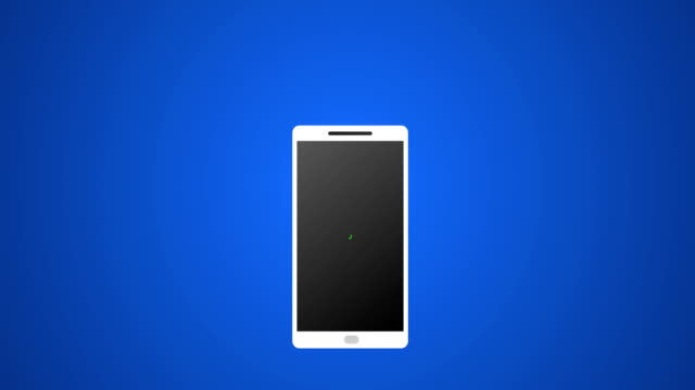Smartphone-Call-with-White-Vector-Icon-and-Ringing-Animation-4k-Rendered-Video-on-Blue-Background-