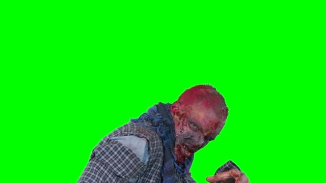 Zombie-terror-en-fondo-verde-halloween-aislado