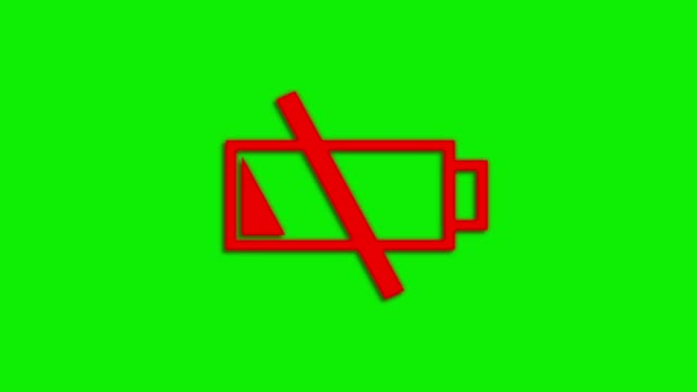 Blinking-Low-Battery-Symbol-on-Green-Screen