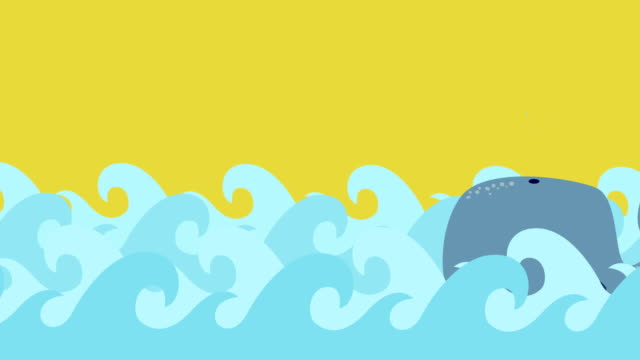 Cartoon-Whale-Swims-In-The-Sea-On-A-Summer-Sky
