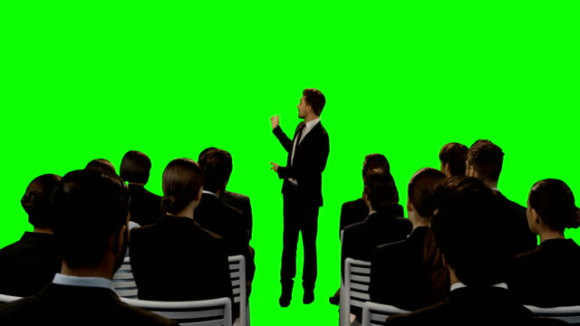 Businessman-giving-presentation-on-futuristic-digital-screen