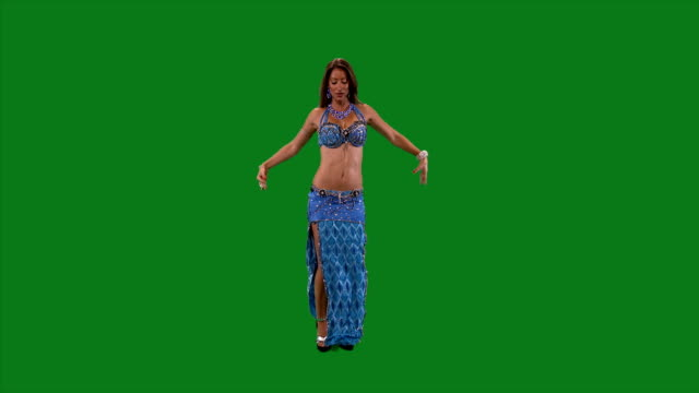 Dancer-Belly-dance-Belly-dancer-dancing-Green-screen-Blue-sexy-dress-Ethnic-Ass-movement-