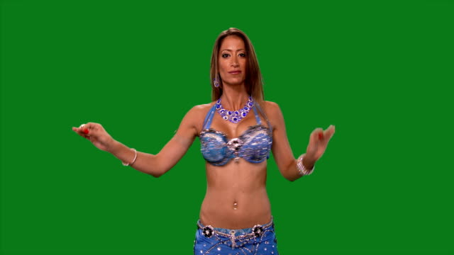 Dancer-Belly-dance-Belly-dancer-dancing-Green-screen-Blue-sexy-dress-