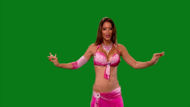 Dancer-Belly-dance-Belly-dancer-dancing-Green-screen-Sexy-pink-dress