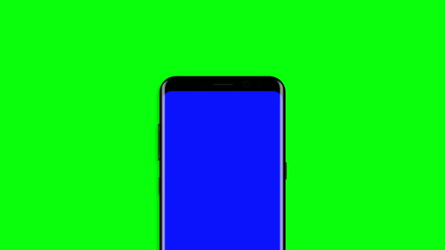 Black-smartphone-turns-on-on-blue-background-Easy-customizable-green-screen-Computer-generated-image-4K-video-