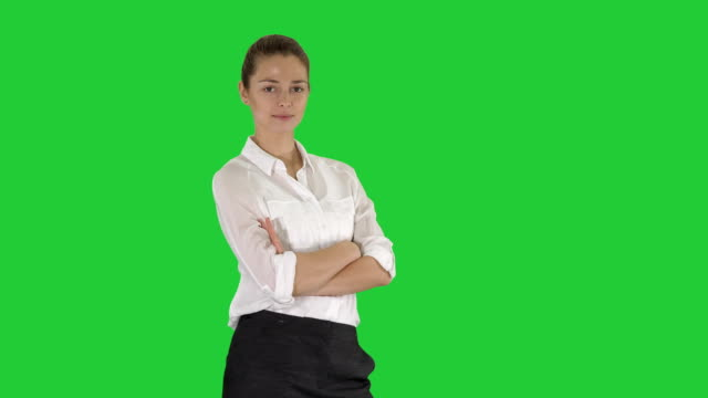 Thoughtful-woman-with-crossed-hands-on-a-Green-Screen-Chroma-Key