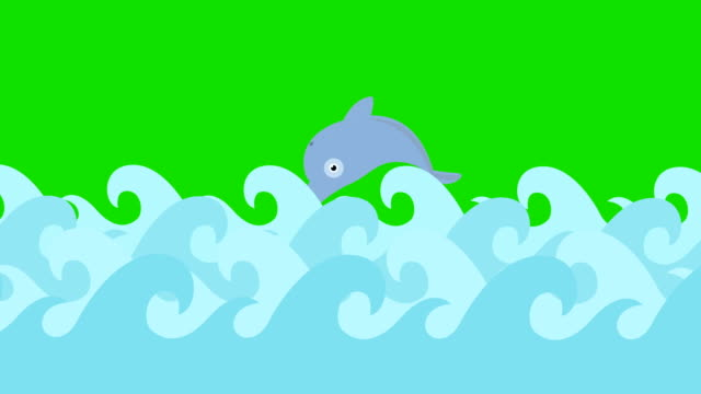 Cartoon-Dolphins-Jumping-Between-The-Sea-Waves-On-A-Green-Screen