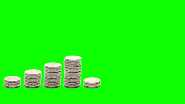 Nine-stacks-of-coins-increasing-Stop-Motion-Chroma-Key-