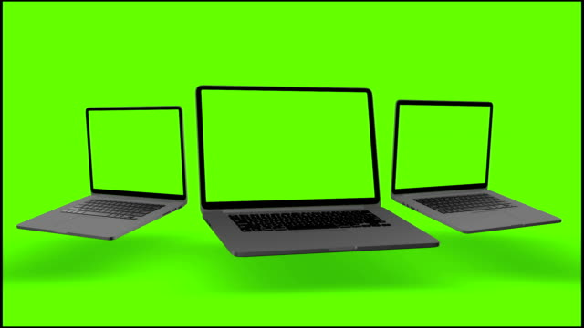 4K-Video-Laptops-(Notebook)-Turning-On-With-Green-Screen-On-A-Green-Background-