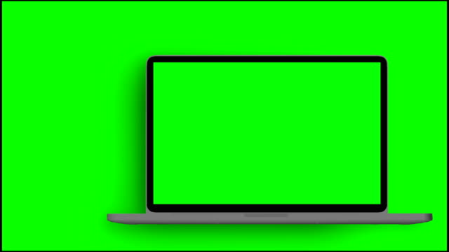 4K-Video-Laptop-(Notebook)-Turning-On-With-Green-Screen-On-A-Green-Background-