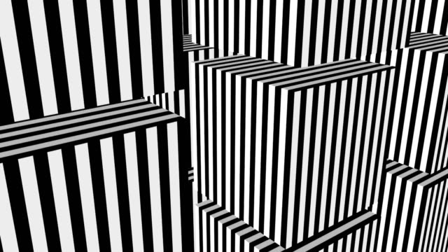 Black-and-white-stripes-formation-cubes