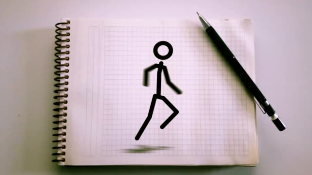 4K-Stick-Man-Running-Animation-on-the-Notepad---Loopable