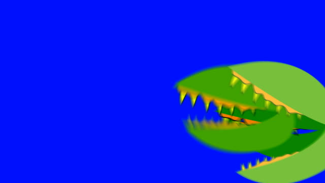 Creepy-Venus-Fly-Traps-Attacking-on-a-Blue-Screen-Background