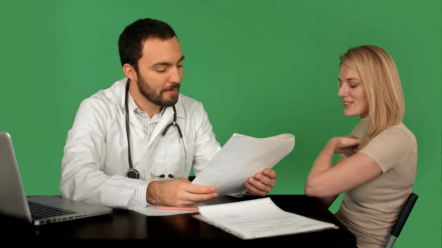 Doctor-patient-history-database-of-young-woman-on-a-Green-Screen-Chroma-Key