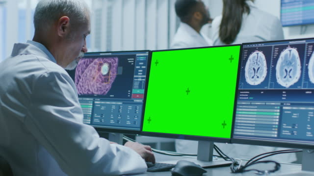 Senior-Medical-Research-Scientist-Working-with-Brain-Scans-on-His-Personal-Computer-Showing-Green-Mock-up-Screen-Modern-Laboratory-Working-on-Neurophysiology-Science-Neuropharmacology-Understanding-Human-Brain-