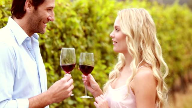 Glückliches-Paar-sprechen-bei-einem-Glas-Wein