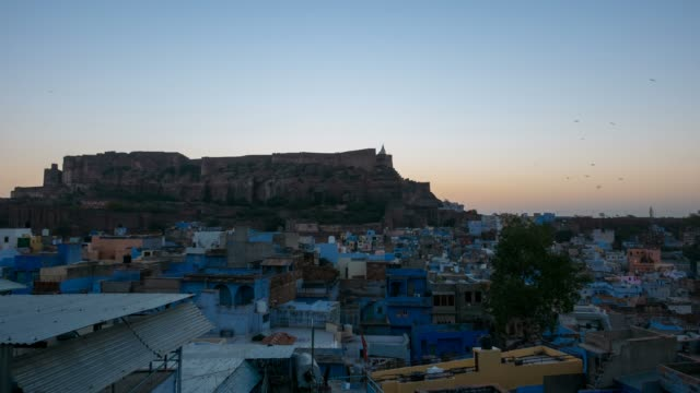 Jodhpur-cityscape-at-sunrise-time-lapse