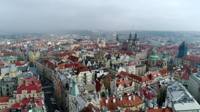 Beautiful-panoramic-aerial-view-of-the-Prague-city-cathedral-from-above-with-the-old-town-and-Vltava-river-Amazing-city-landscape-footage-
