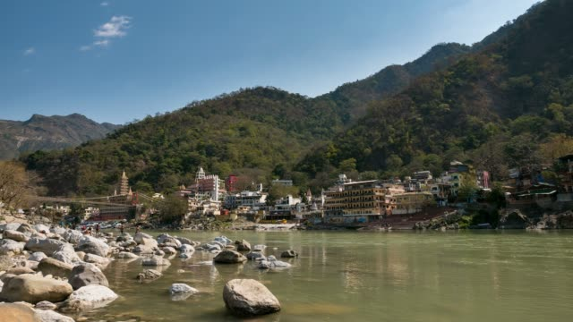 Time-lapse-at-Rishikesh-holy-town-and-travel-destination-in-India