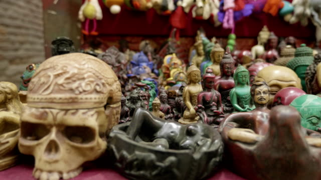 Colorful-tradition-wooden-handicrafts-on-sale-at-shop-in-Kathmandu-Nepal-