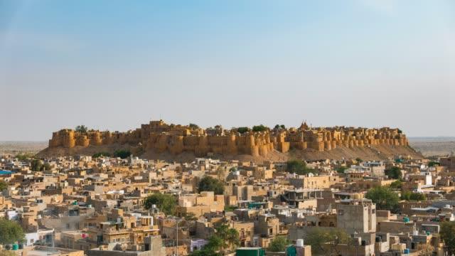 Jaisalmer-Stadtbild-bei-Sonnenuntergang-Zeitraffer