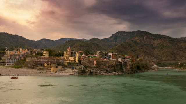 Time-lapse-at-Rishikesh-holy-town-and-travel-destination-in-India-