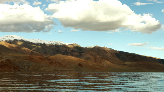 4K-Ultra-HD-:-White-clouds-timelapse-over-the-mountain-Tso-Moriri-lake-4-522-m-(14-836-ft)-Jammu-and-Kashmir-northern-India-