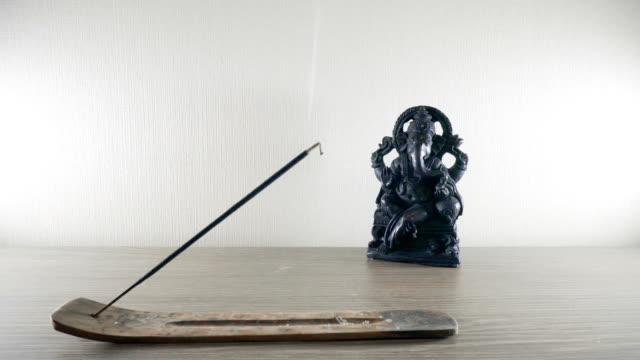 Burning-incense-stick-on-a-background-Ganesh-statues