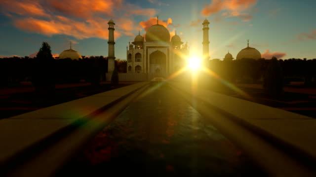 Taj-Mahal-contra-hermoso-cielo-al-atardecer-4K