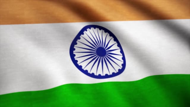 Realistic-cotton-flag-of-India-as-a-background-India-flag-waving-in-the-wind-Background-with-rough-textile-texture-Animation-loop