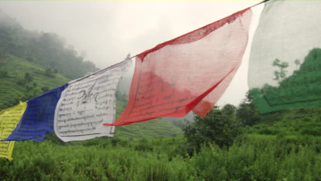 Nepal-s-Colorful-Budhist-s-Prayer-Flaglets-Infront-of-the-Stunning-Rice-Terraces