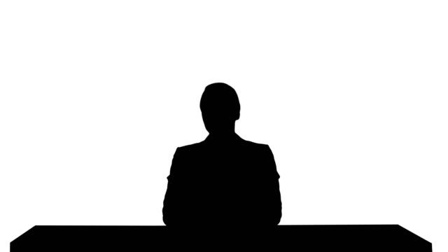 Silhouette-A-female-newsreader-presenting-the-news-add-your-own-text-or-image-screen-behind-her