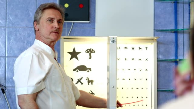 Elderly-male-ophthalmologist-pointing-at-letters-of-eye-chart